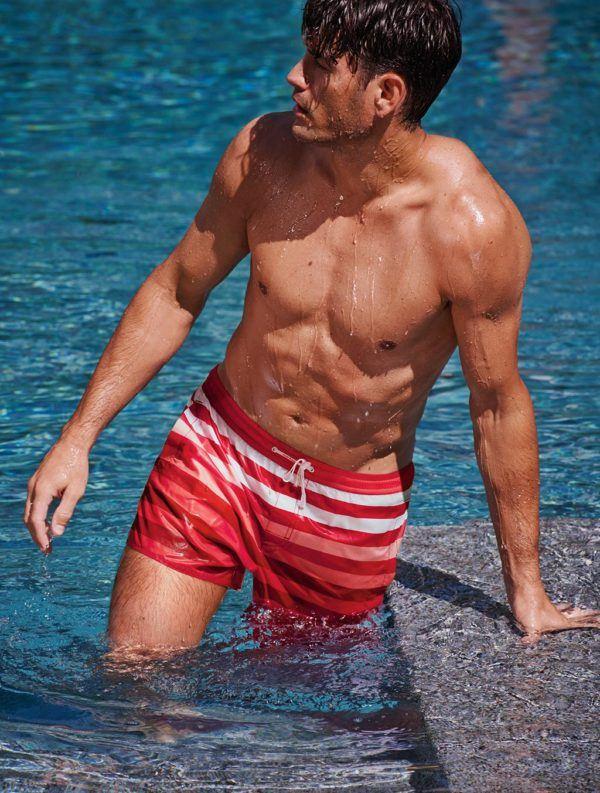 Bañadores-hombre-Calzedonia-Primavera-Verano-2015-bermuda-rayas-roja-blanca