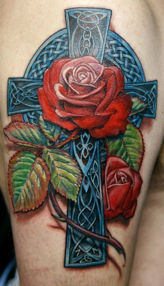 las-fotos-de-tatuajes-en-3d-cruz-y-rosa