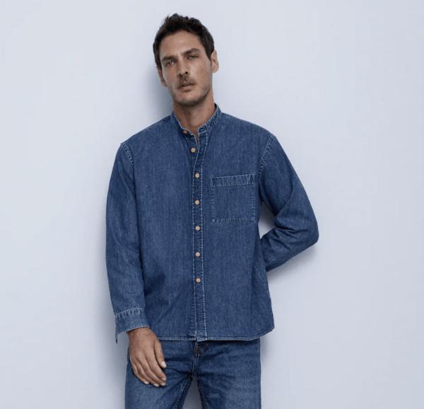 Camisa denim cuello mao catálogo Zara temporada otoño invierno 2020 2021