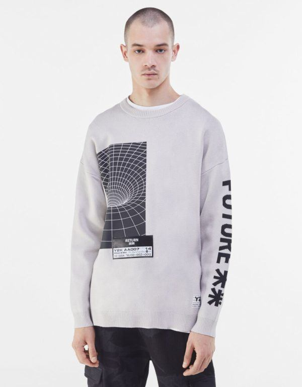 Catálogo Bershka hombre Otoño Invierno 2020 2021 jersey print