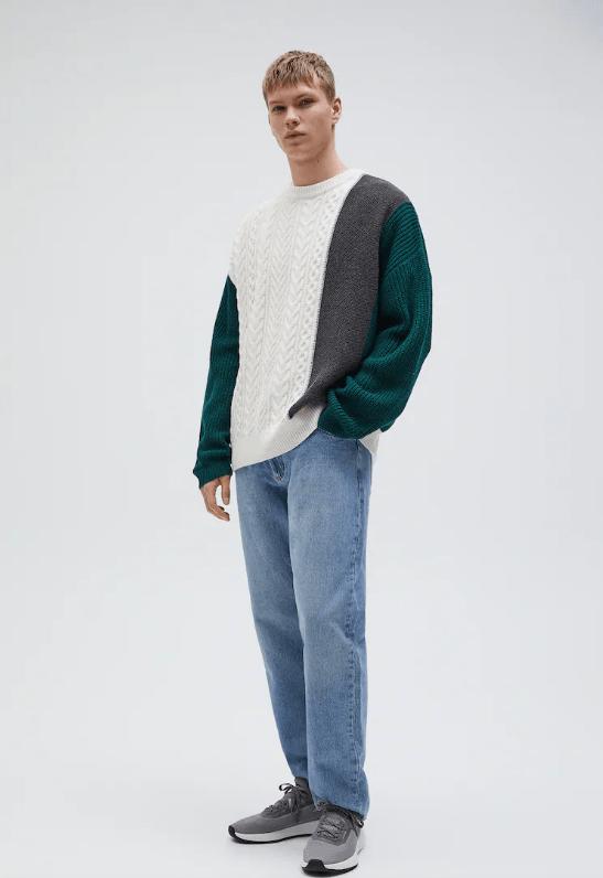 Catálogo Pull & Bear | Tendencias Moda Hombre Otoño Invierno 2020 2021 jersey ochos diseño paneles