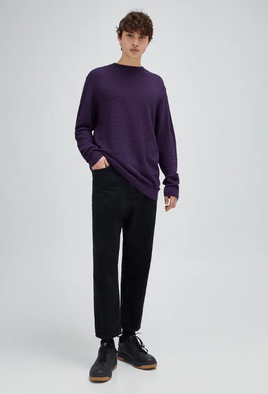 Catálogo Pull & Bear | Tendencias Moda Hombre Otoño Invierno 2020 2021 jersey-basico-cuello-perkins-estructura