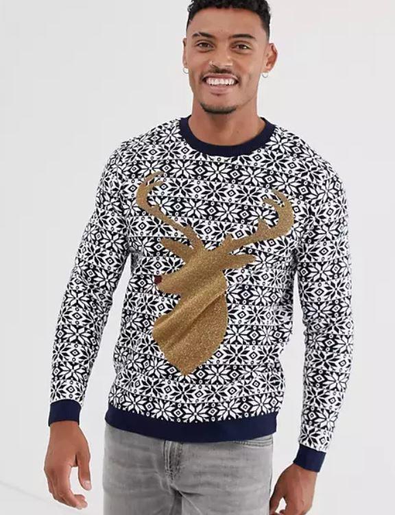 jersey con reno dorado de navidad