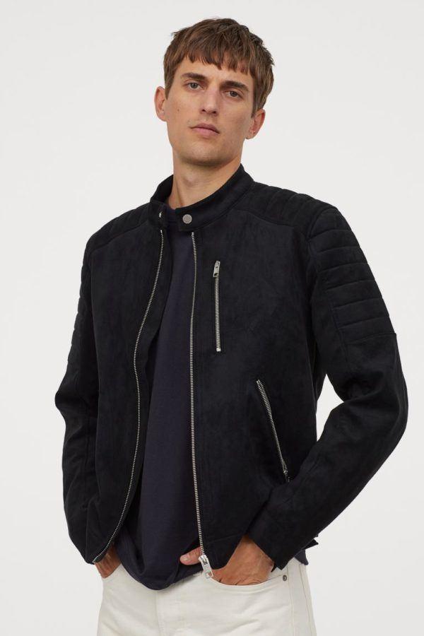 Chaquetas de cuero para hombre H&M cazadora motera de ante sintético negra