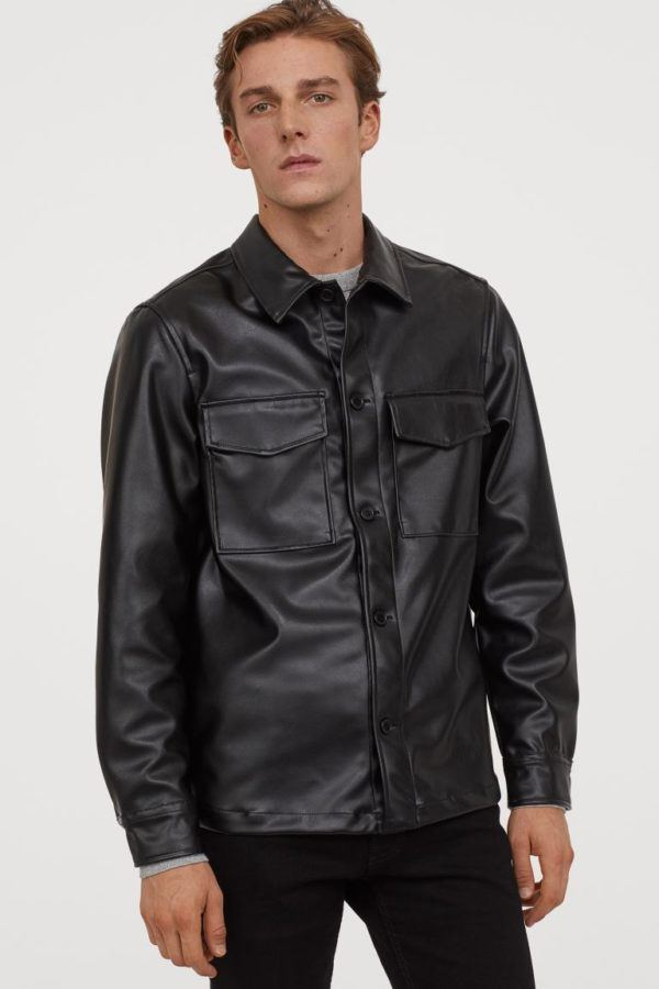Chaquetas de cuero para hombre H&M chaqueta camisera de piel sintética regular fit
