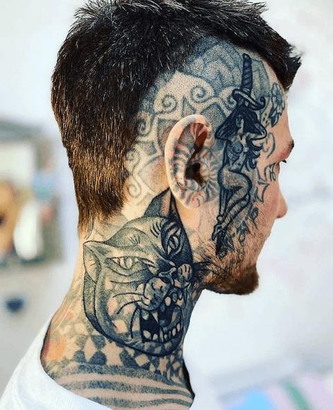 Tatuajes pequeños para cuello hombre 2021 blanco y negro tigre