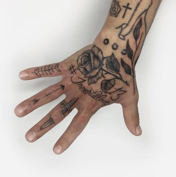 Tatuajes de rosas para hombres 2021 mano rosa completa