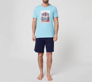 Catálogo Rebajas Alcampo Primavera Verano 2021 pijama de algodón In Extenso turquesa