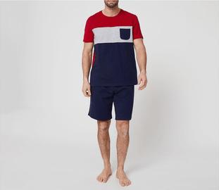 Catálogo Rebajas Alcampo Primavera Verano 2021 pijama de algodón In Extenso rojo, blanco y azul