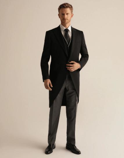 Trajes negros para novio 2021 chaqué negro y gris