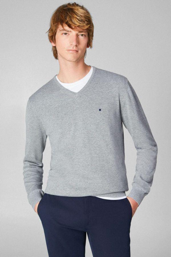 Purificacion garcia rebajas para hombre jersey pico gris