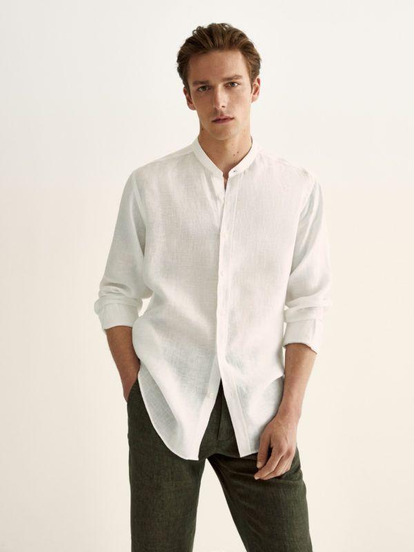 Como vestir elegantemente en verano camisa blanca pantalon negro massimo dutti