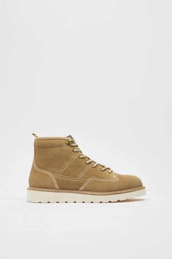 Zapatos zara hombre otoño invierno 2021 2022 bota beige costuras