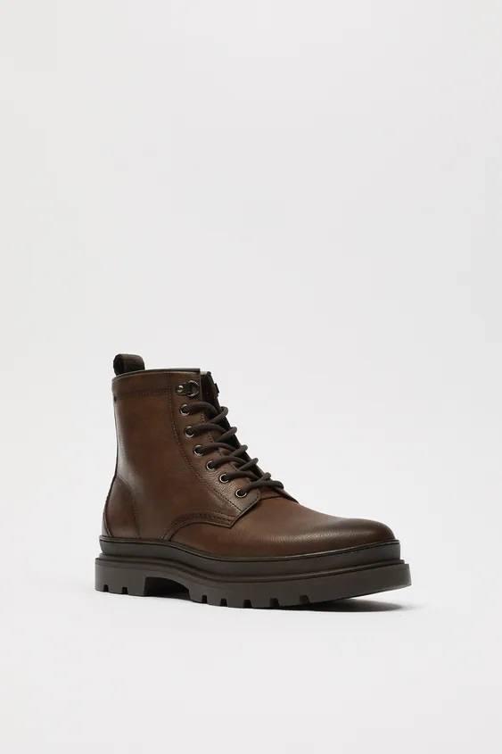Zapatos zara hombre otoño invierno 2021 2022 bota piel marron