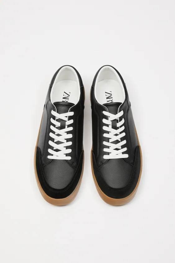 Zapatos zara hombre otoño invierno 2021 2022 zapatilla combinada negra