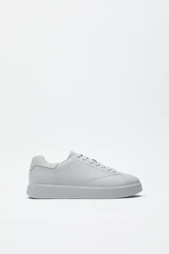 Zapatos zara hombre otoño invierno 2021 2022 zapatilla minimal blanca