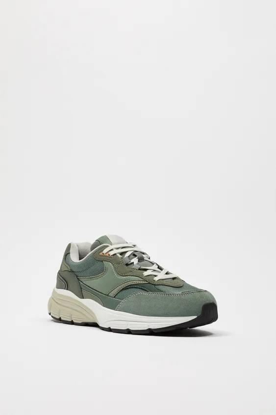 Zapatos zara hombre otoño invierno 2021 2022 zapatilla retro verde