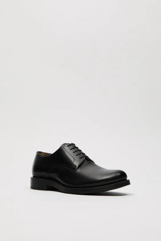 Zapatos zara hombre otoño invierno 2021 2022 zapato formal blucher piel negra