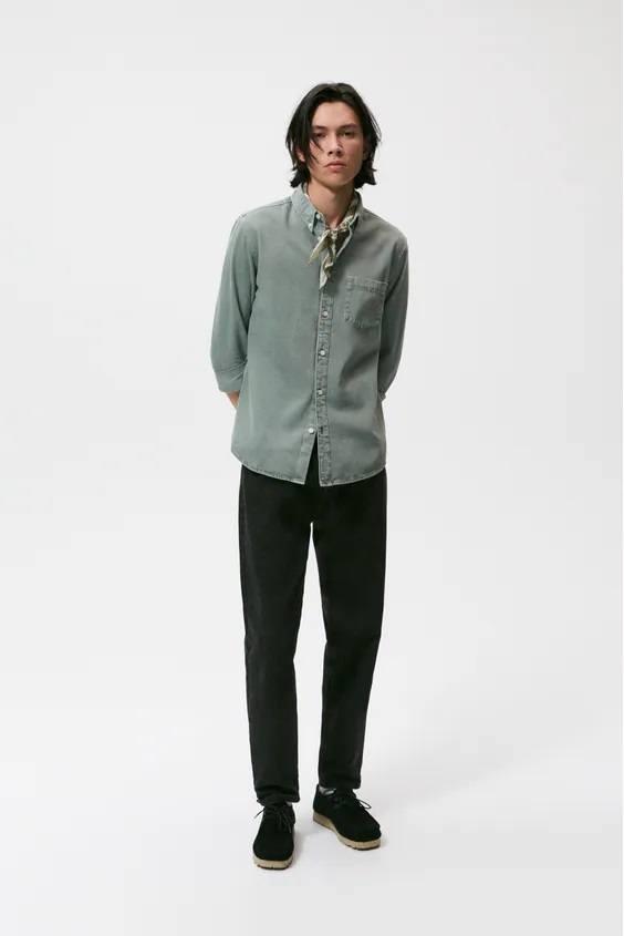 Camisas de zara para hombre camisa algodon acero