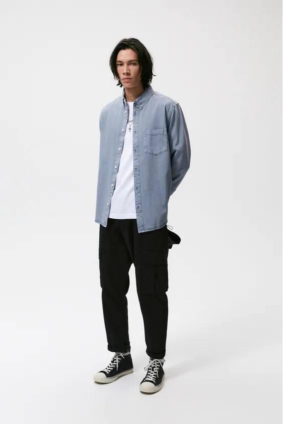 Camisas de zara para hombre camisa algodon azul