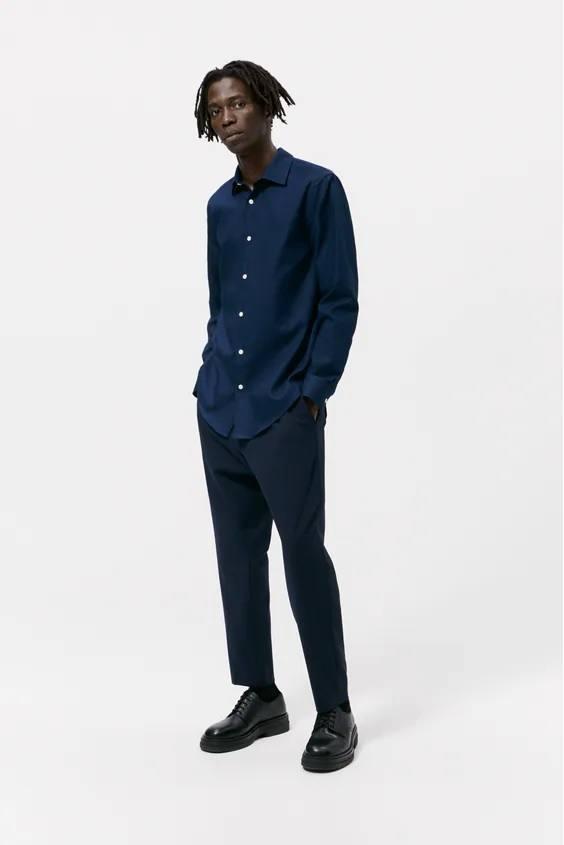 Camisas de zara para hombre camisa colores azul marino
