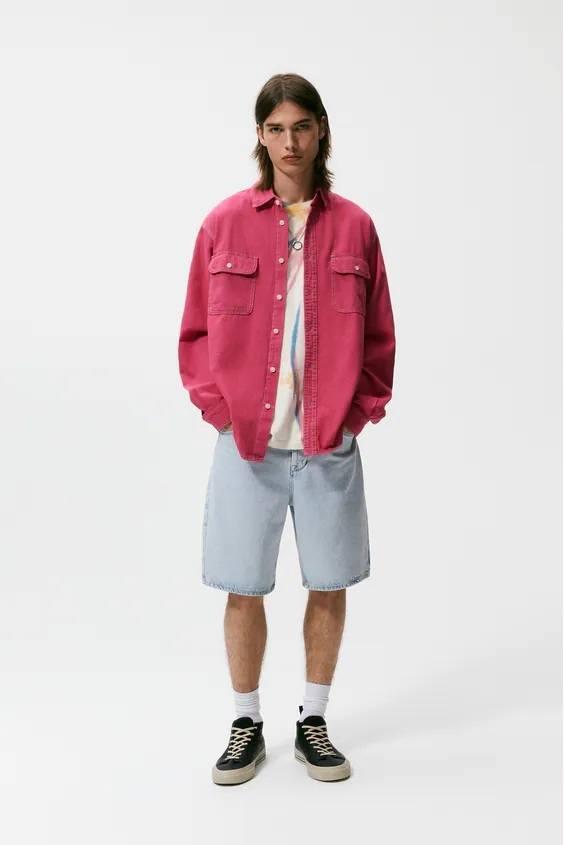 Camisas de zara para hombre camisa colores fucsia