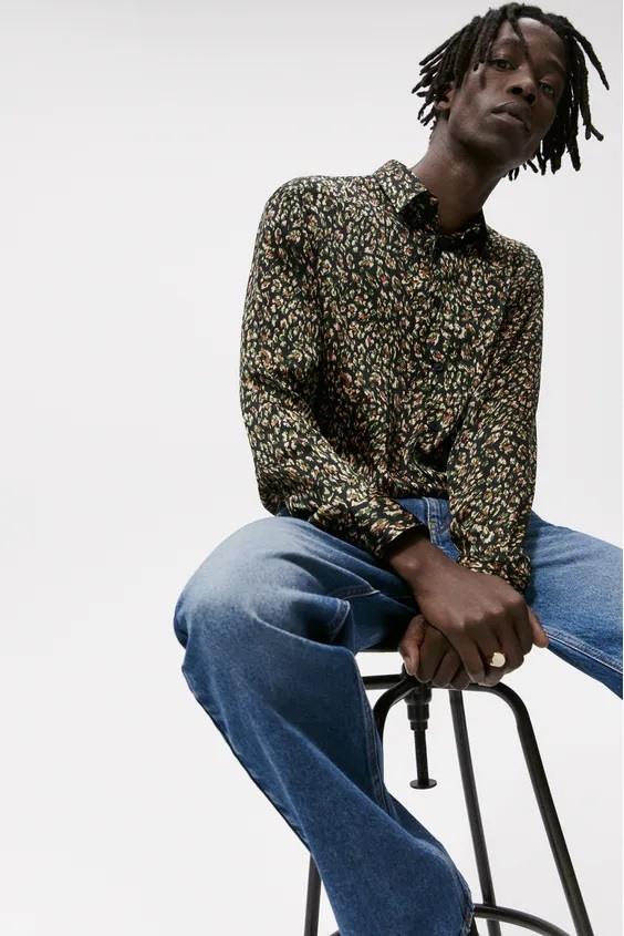 Camisas de zara para hombre camisa estampado abstracto
