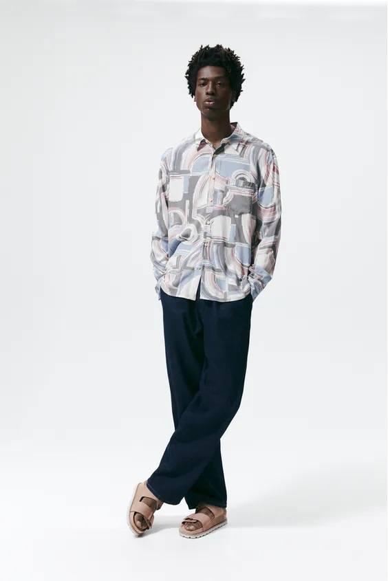 Camisas de zara para hombre camisa estampado abstracto neutro