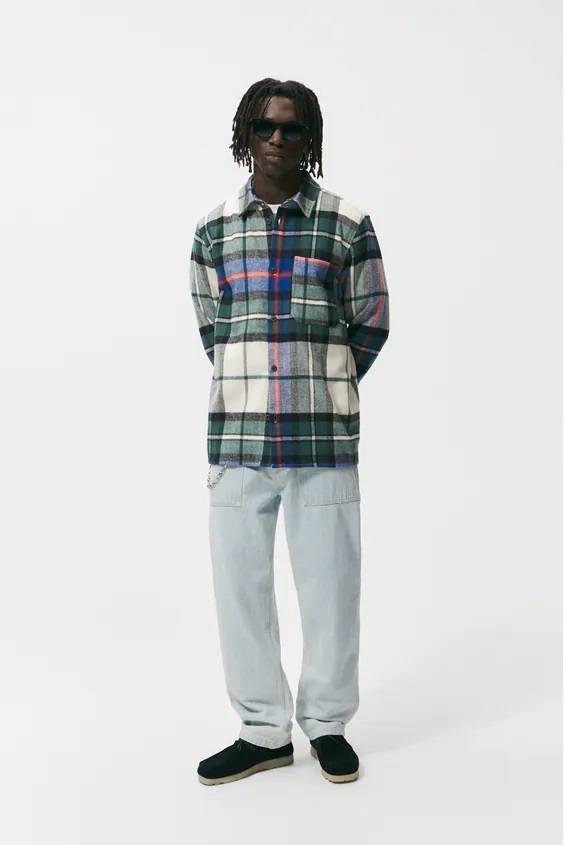 Camisas de zara para hombre camisa estampado cuadros franela