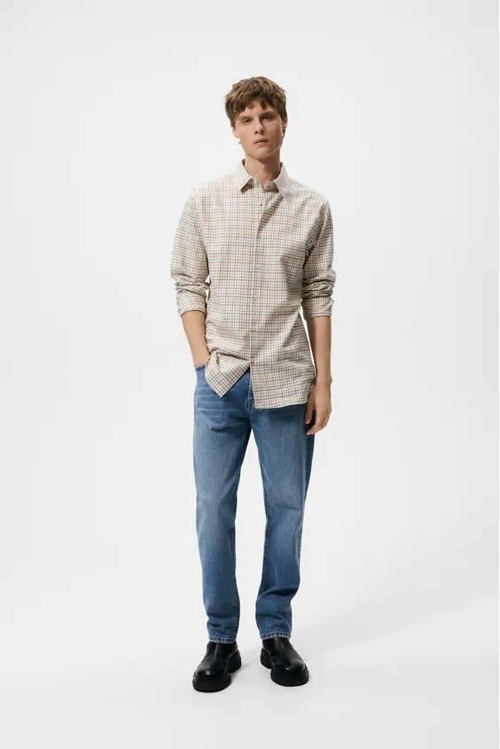 Camisas de zara para hombre camisa estampado cuadros pequeños