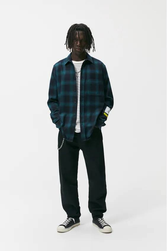 Camisas de zara para hombre camisa estampado cuadros verde
