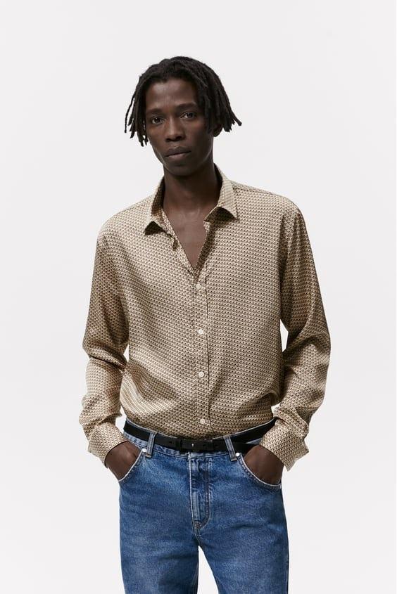 Camisas de zara para hombre camisa estampado geometrico