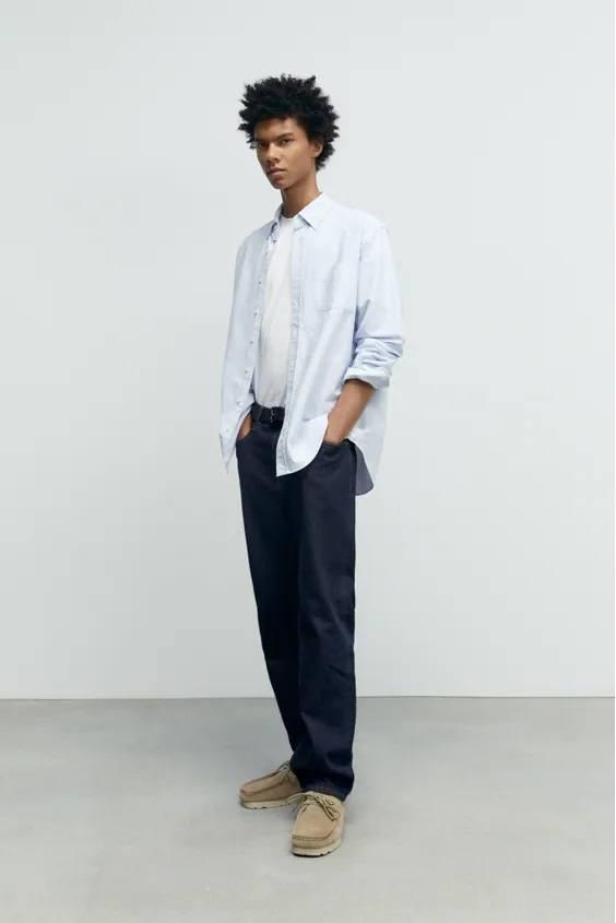 Camisas de zara para hombre camisa oxford blanca