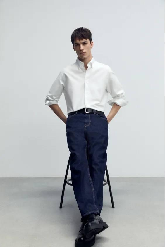 Camisas de zara para hombre camisa oxford estructura
