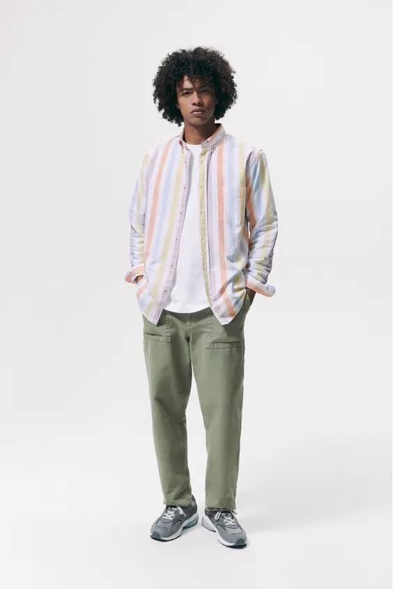 Camisas de zara para hombre camisa oxford rayas