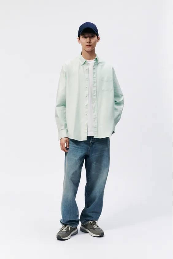 Camisas de zara para hombre camisa oxford relaxed