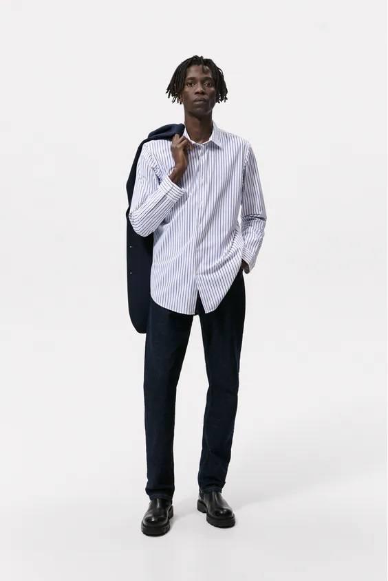 Camisas de zara para hombre camisa rayas blanca