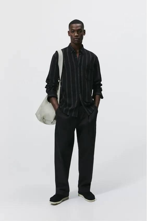 Camisas de zara para hombre camisa rayas negra