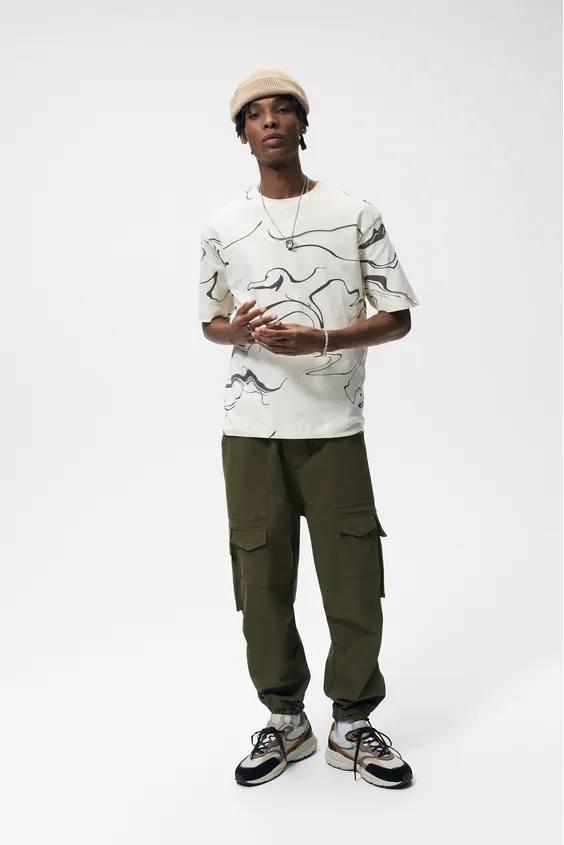 Camisetas de hombre zara abstracto