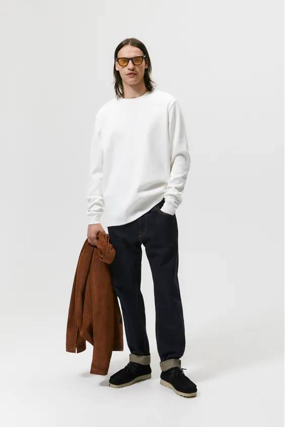 Camisetas de hombre zara camiseta blanca manga larga