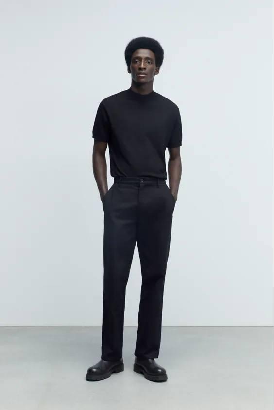 Camisetas de hombre zara camiseta punto negra
