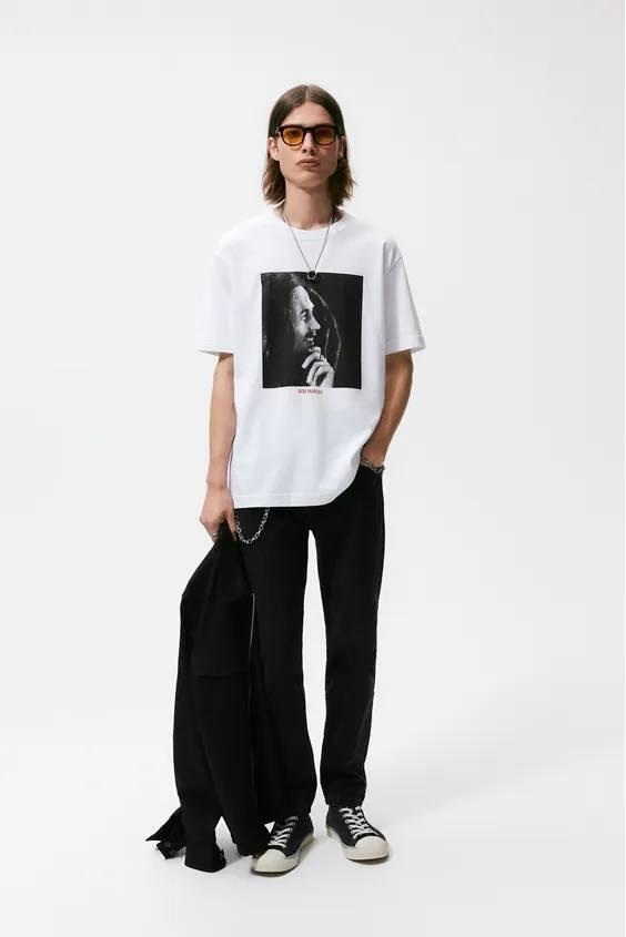 Camisetas de hombre zara cantantes bob marley
