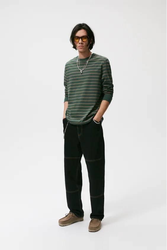 Camisetas de hombre zara rayas verde