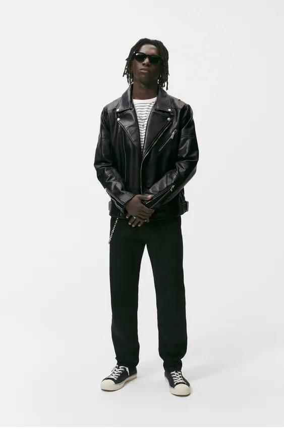 El catalogo de abrigos y chaquetas para hombre de zara cazadora piel biker