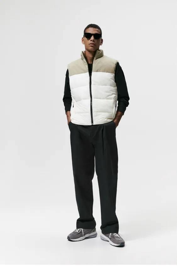 El catalogo de abrigos y chaquetas para hombre de zara chaleco acolchado color block