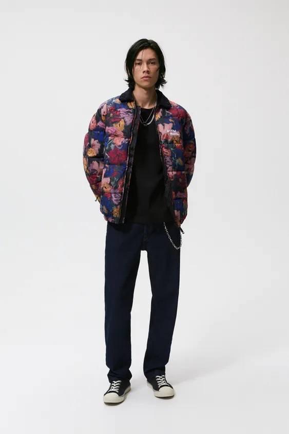 El catalogo de abrigos y chaquetas para hombre de zara chaqueta acolchada flores