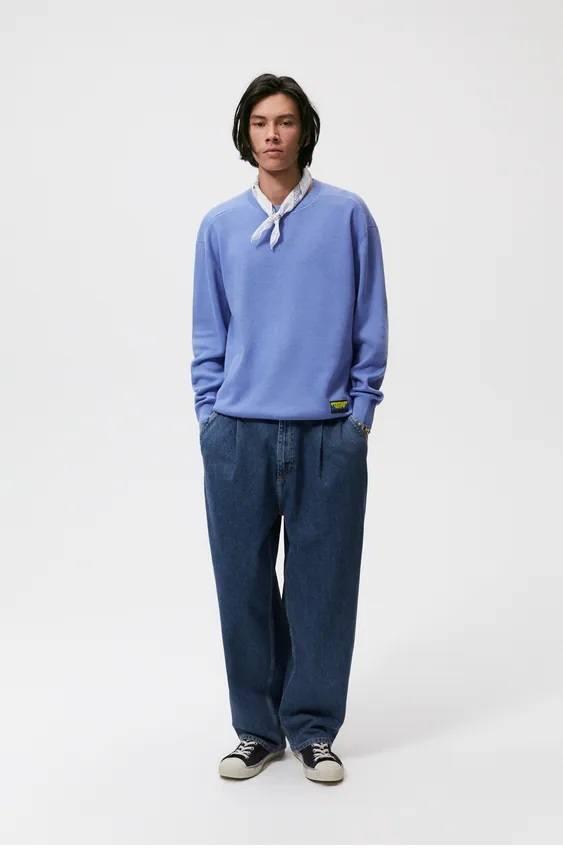 Los jerseis hombre zara algodon azul