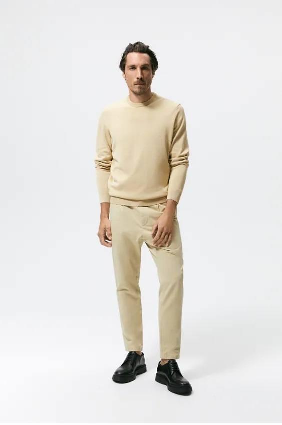 Los jerseis hombre zara algodon beige