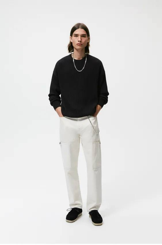 Los jerseis hombre zara algodon oversize negro
