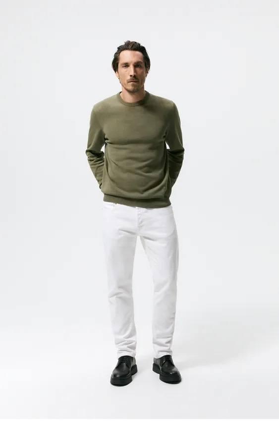 Los jerseis hombre zara algodon verde